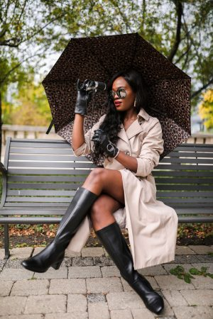 How to style tall boots with a trench coat
