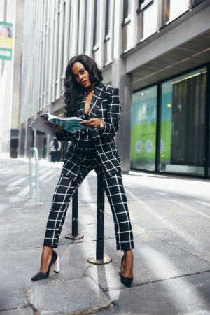 bLACK AND WHITE THREE PIECE SUIT