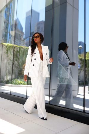 White pin-striped suit
